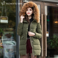 Winterlarge  raccoon fur cap  belt large fur collar thickening with a hood tooling down coat female winter long duck down jacket