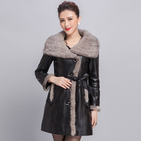 New womens genuine leather  medium-long sheepskin leather clothing mink knitted fur collar outerwear