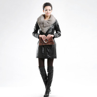 2014 women's genuine leather sheepskin knitted mink clothing slim trench outerwear