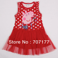 FREE SHIPPING H4416# Nova 18m/6y kids wear clothing embroidery peppa pig 2013 new sleeveless dress for baby girls