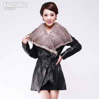 Genuine leather single clothing leather clothing mink knitted large sheepskin women's outerwear