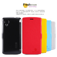 Free shipping Nillkin fresh series side flip leather case for LG Nexus 5 10PCS/LOT