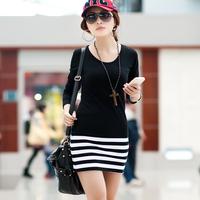2013 new fashion autumn&winter one-piece dress slim long sleeve patchwork stripe cotton knitting high quality M/L/XL/XXL