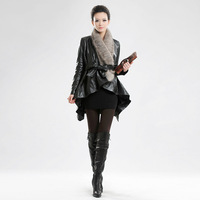 Ladies genuine leather sheepskin knitted mink clothing babydoll outerwear