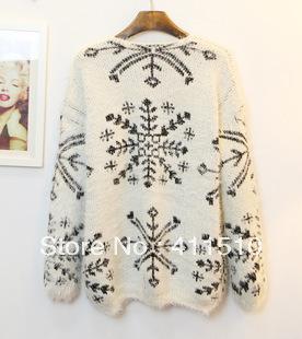 Бесплатная доставка 2014 новых женщин мохер Плюшевые Снежинка Пуловеры с длинными рукавами V-образным вырезом свитер