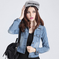 High quality  denim outerwear women's plus size slim long-sleeve top denim short jacket