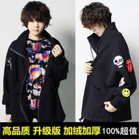 2013 autumn and winter medium-long plus size casual cardigan badge batwing sleeve women fleece sweatshirt