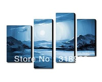 100% Hand made Pink flowers bloom High Abstract landscape Wall Decor Oil Painting on canvas 4pcs/set mixorde Framed/AF393
