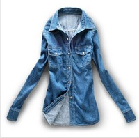 2013 autumn turn-down collar shirt pocket medium-long slim denim long-sleeve shirt female