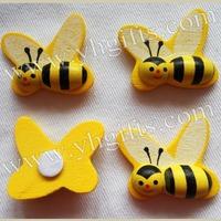 100PCS/LOT.Wood honeybee stickers,3D sticker,Wall stickers,Yellow bumble bee sticker,Easter crafts,Fridge magent,2.5x2.8cm