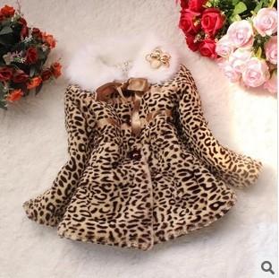 Retail 1 Pc 2014 Spring Children Leopard Faux Fur Outerwear Baby Girls Flower Fur Winter Coat Kids Jackets Coats CCC229(China (Mainland))