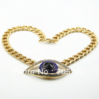 Celebrity Style Crystal Evil Eye Pendants Necklace Gold Tone Free Shipping