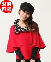 2013 winter school wear preppy style dual double breasted short wool jacket young girl wool coat cloak