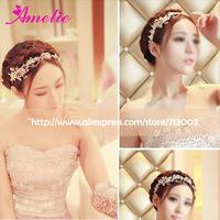 Handmade floral crystal rhinestone starning Sparkling gold hair headbands exquisite bridal wedding hair accessory