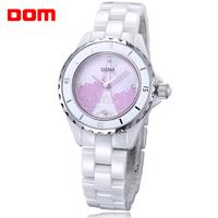 brand watch women   Dom original   ceramic  ultra-thin    white ladies quartz  dress watches women wristwatches relogio feminino