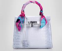 New 2014 Famous Brand Style Croc Cow Skin Real Genuine Leather Women Handbag Tote Bag Satchel Luxury Shouder Bag Messenger