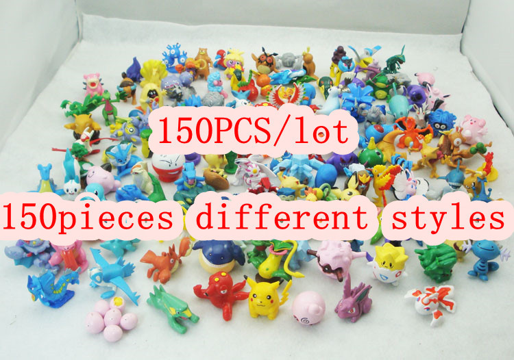 150pcs/lot , Christmas gift Bulk pokemon action figure dolls height 3-5cm+PVC (Medium size)design cartoon anime(China (Mainland))