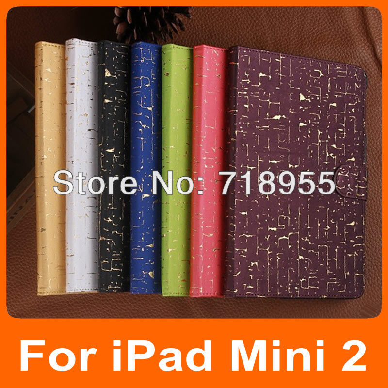 50 pcs/lot Wallet Leather Stand case for iPad Mini 2 Fashion Protective Skin Shell with Free Screen Film(China (Mainland))