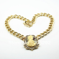 Fashion Celebrity Style Beige Beauty Pendants Necklace Gold Tone Free Shipping