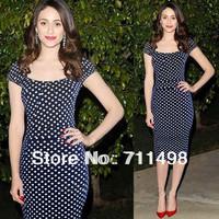 New temperament Slim Navy  blue white Polka Dot Dress With Knee-length sleeved package hip dress