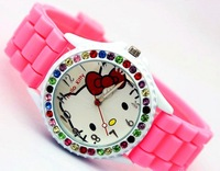 band quartz colorful kitty Girl Diamond Silicone Women Dress Cheap Kids watch , 2 0pcs/lot