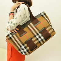 2013 plaid canvas bags fashion brief handbag casual one shoulder cross-body stripe female