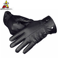 2014 NEW Winter man sheet buckles leather gloves winter warm leather gloves in thin sheep leather gloves male fashion gloves
