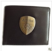 Arsenal  black men imitation leather wallet seling metal badge purse  classic style purse ozil wallet