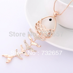 2013 New Fish Shape 18K Gold Plated Jewellry Sets Woman Pendant Necklace(China (Mainland))