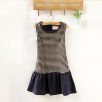 winter dress /Sleeveless one-piece dress /patchwork basic dress /tank dress pullover patchwork