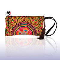 Free Shipping! so cute new style national trend embroidery coin purse semi-cirle day clutch small unique mobile phone bag