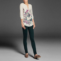 Free shipping /floral shirt/ ladies chiffon tees/T-shirt/noble vintage/