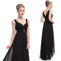 Elegant design evening dresses Wavy skirtof Acrylic diamond Sexy deep V-neck banquet black formal dress trailing