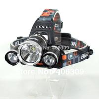1PC High Power LED Headlight Boruit RJ-3000 3000-Lumen 3xCREE XM-L T6 4 Mode Light Rechargeable 2*18650 Waterproof Headlamp