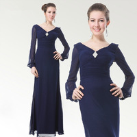 elegant  long-sleeve Evening Dresses V-neck bridesmaid formal dress Free shipping