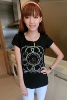 Short-sleeve T-shirt female women's rhinestones o-neck slim black