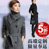 2013 slim woolen outerwear wool long design woolen outerwear women's overcoat trench thick