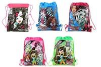 in stocking 20pcs/lot Free shipping MONSTER HIGH Cartoon Drawstring Backpack Bag ,Children Kids Bag 34X27CM,schoobag,part gift