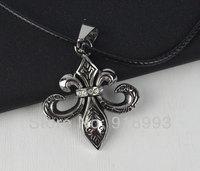 Titanium jewelry love diamond flower pendant necklace jewelry snake leather cord necklace titanium steel necklace New Gift