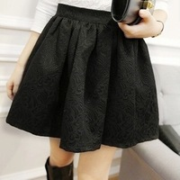 Women High Waisted Skirt 2013 New Arrival Fashion Embossed Small Jacquard involucres elastic short women black White Skirt