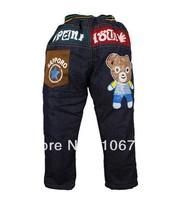 Wholesale- 2 colors High quality kids boys Bear warmjeans children pants