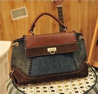 2014 fashion women's jeans bag  pu leather handbags free shipping