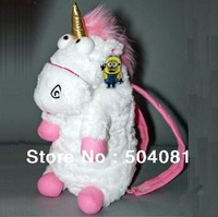 2014 hot Children School bag Despicable Me Unicorn Backpack kids/ Baby schoolbags girl shoulder bags/plush doll toy Xmas gift