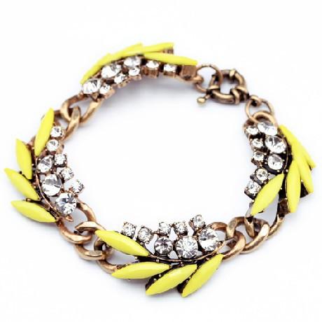 2014 Fashion Jewelry New Fluorescent Color Rhinestones Charm Bracelet Women Factory Wholesale(China (Mainland))