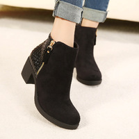 Free Shipping Fashion Sexy Ladies New Zipper Thick Mid Heels Platform PU Leather Ankle Boots Vogue Winter Party Shoes