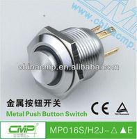 Free Shipping 16mm car high flat head push button ring illuminated switch 12v