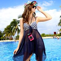 Freeship 2014 swimwear fashion sexy gauze one-piece dress twinset plus size swimwear