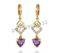 Free shipping!!!Brass Lever Back Earring,Korea Jewelry, 18K gold plated, with cubic zirconia, nickel, lead & cadmium free
