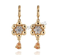 Free shipping!!!Brass Lever Back Earring,Elegant, 18K gold plated, with cubic zirconia, nickel, lead & cadmium free, 41x14mm