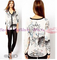 Free Shipping 2013 New Fashion Women V-neck Long Sleeve flowers Print T shirt Brand Design Lady Slim Chiffon Shirt